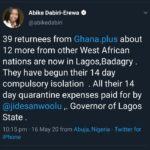 Lagos Governor Pays For Quarantine Of Nigerian Returnees From West Africa