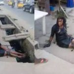 Lady Falls From Her High Heels Shoes And Lands Inside A Gutter in Ikwerre — (photo)