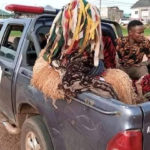 Police Arrests Masquerade In Anambra State For Disobeying Stay-At-Home Order ... (See pics)