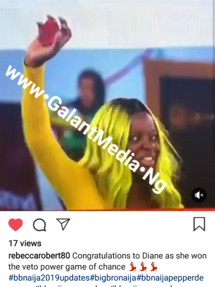 Congratulations! To Diane Who Won The Veto Power Game Of Chance @BBnaija2019