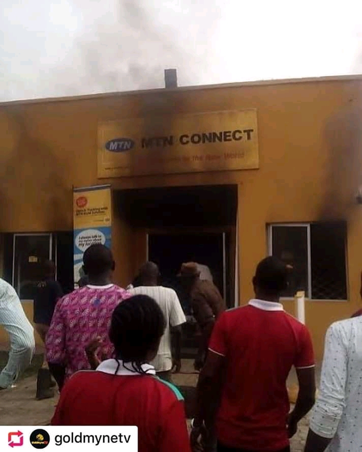 19-Year-Old Boy Set Fire Burns Down MTN Network Office in Lagos — See Pics
