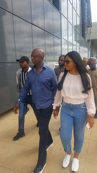 Regina Daniels & Husband, Ned, Hold Hands As They Fly Private Jet To Abuja