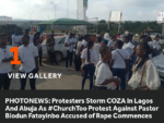 Protesters Storm COZA In Lagos And Abuja As #ChurchToo Protest Against Pastor Biodun Fatoyinbo Accused of Rape Commences