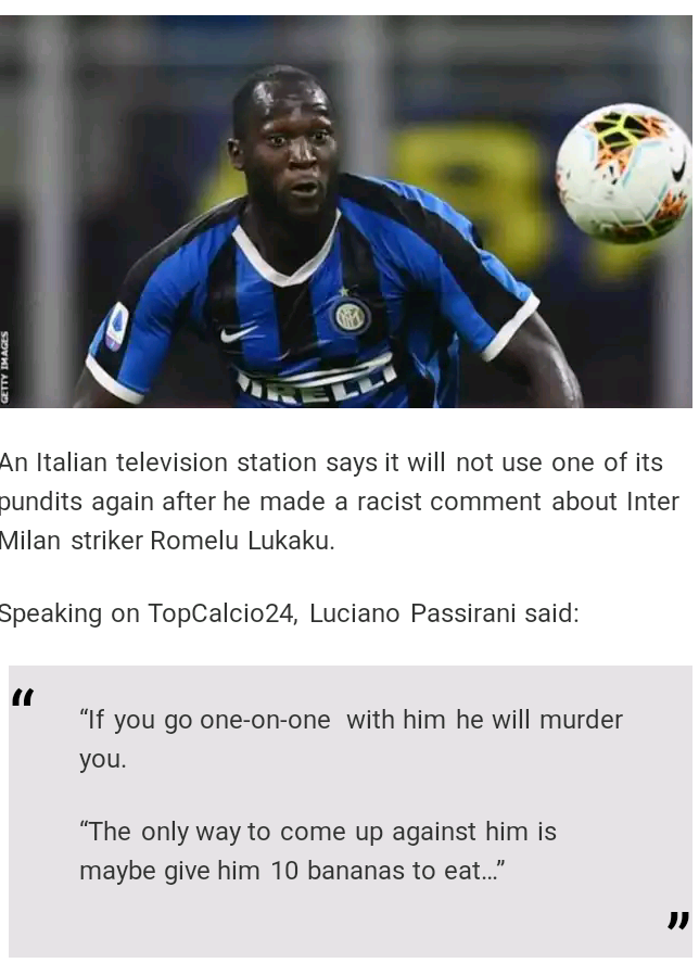 Italian TV Channel Insulted Player LUKAKU ... (See What They Say)