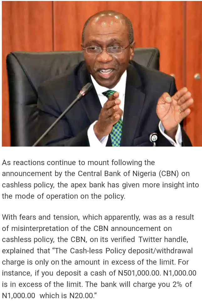 9JA NEWS — Central Bank of Nigeria Discloses (The Cash-less Policy Deposit/Withdrawal Charge)