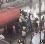 Petrol Tanker Burst Out Fuel Under Mile 2 Bridge In Lagos ... (WATCH VIDEO)