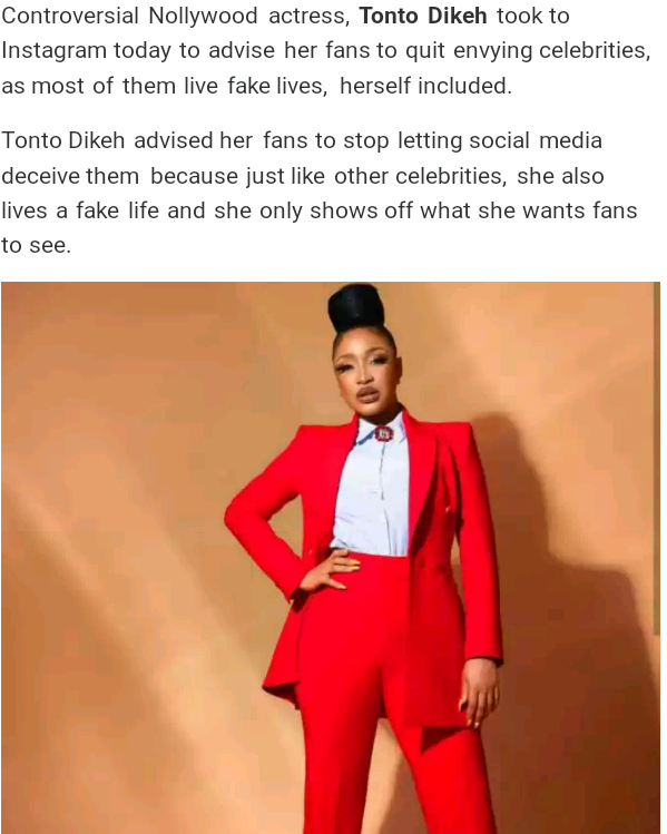 Tonto Dikeh Advises Fans That She's Living A Fake Life On Internet