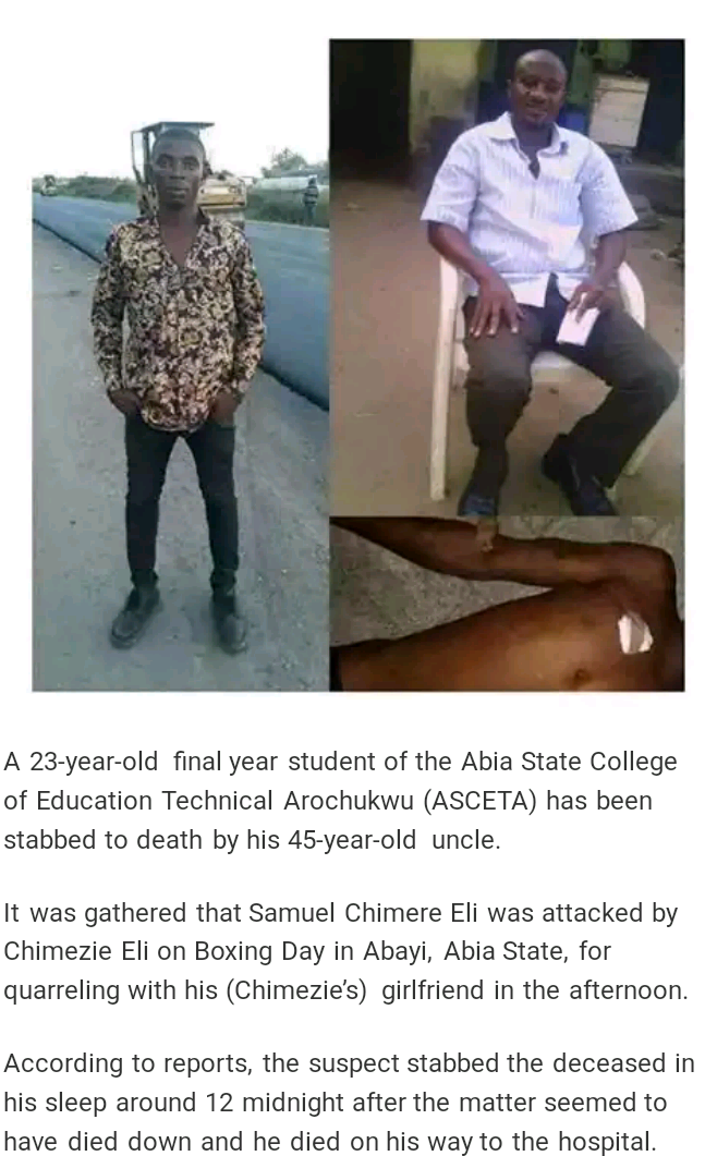 How Uncle Stabbed Nephew To Death For Fighting His Girlfriend ... (Pics)