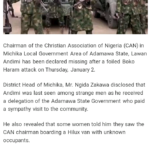 Chairman Of Christian Association Of Nigeria Lost In Bush After Foiled BOKO HARAM Attack