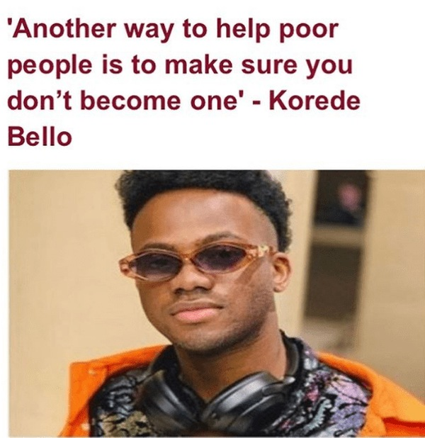 Nigerian OAP Daddy Freeze Reacted to Korede Bello's Tweet about Poverty