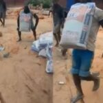 Incredible!! Man Carries 50kg Bag Of Cement With Teeth, Wins 100,000 Naira Bet