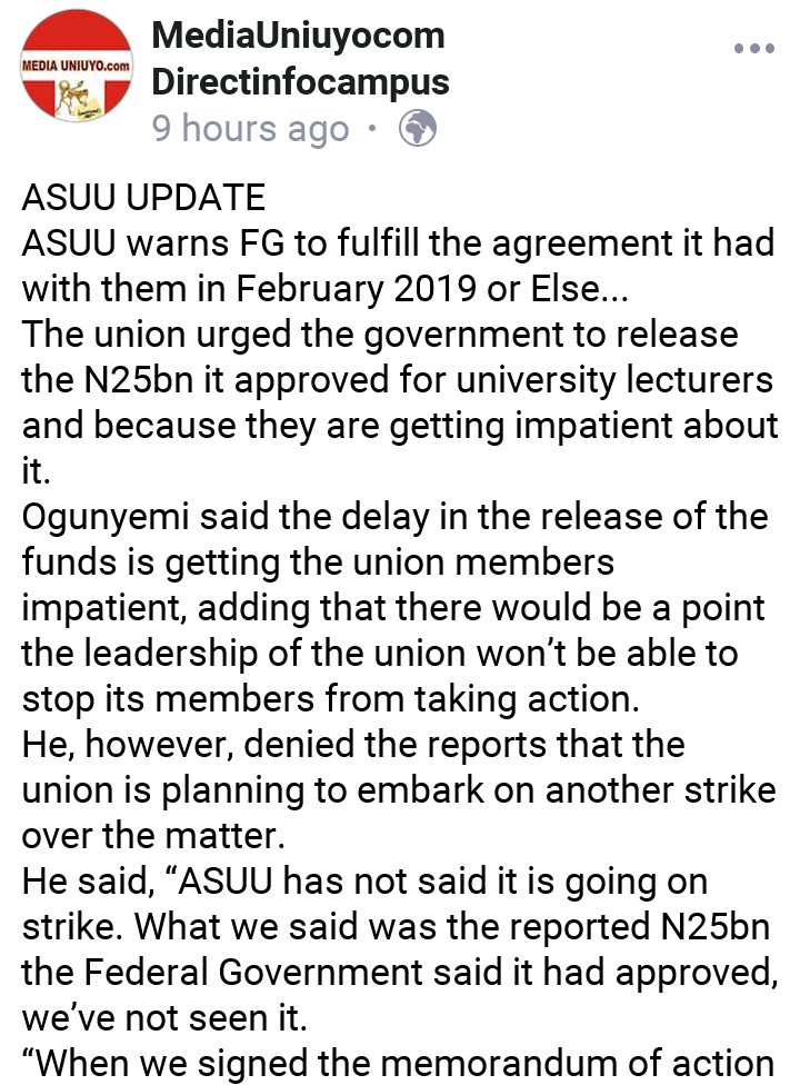 ASUU Warns Federal Government On Demands To Pay University Lecturers