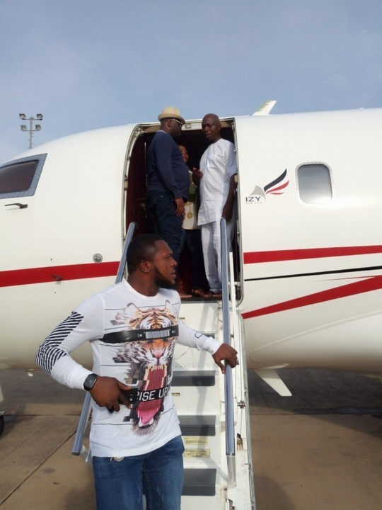 Billionaire Ned Nwoko And Team Land Asaba In 3 Private Jets