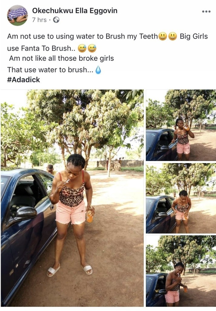 Nigerian Lady Brushes Teeth With Bottle Of Fanta (Pics)