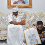 LOVELY!!! Ooni Of Ife Adopts And Gives Scholarship To Son Of Corn Seller Who Drew His Portrait