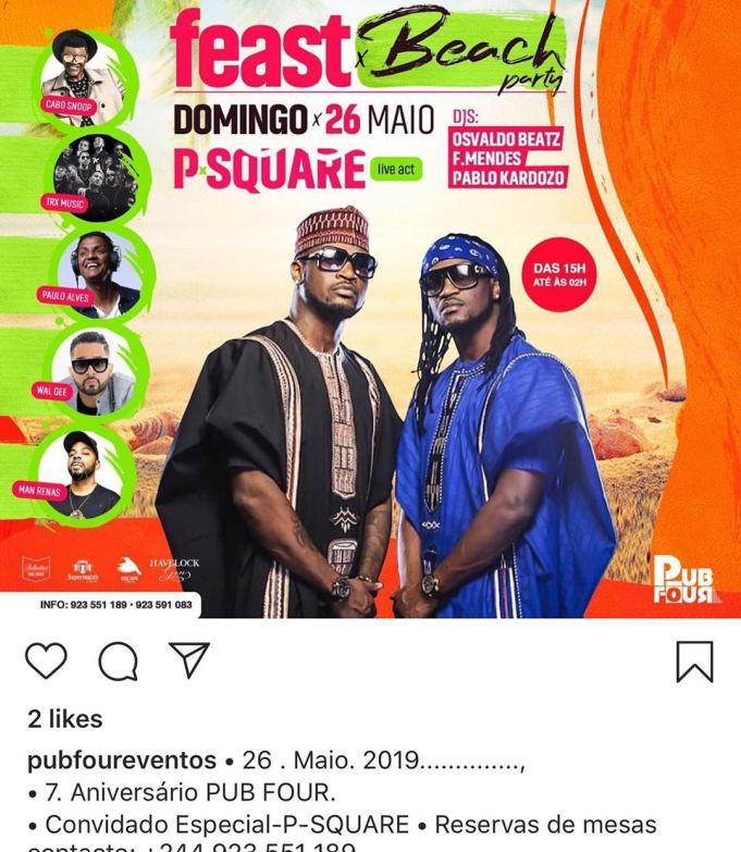 Psquare (Peter) Blame Promoter Who Used His Pics To Publicize A Show