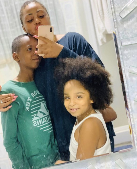 Regina Daniels Bonds With Her Step Kids Shows Off Her Belly