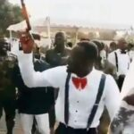 VIDEO: Nigerian Soldiers Gas up their colleague with battle Chants as He Marries his Heart-robber