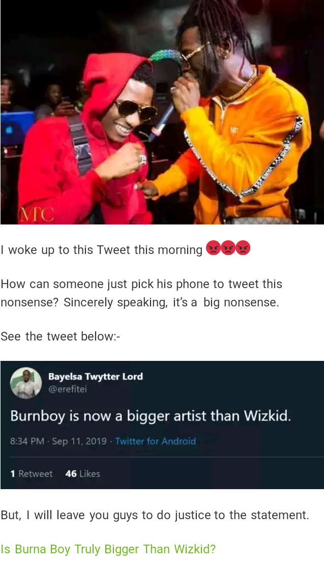 Wizkid Is Bigger Than Burna_Boy True or Nah ??